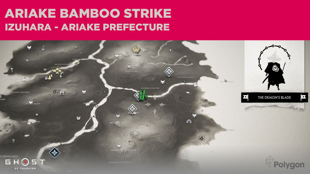 The Bamboo Strike location in Ariake in Ghost of Tsushima