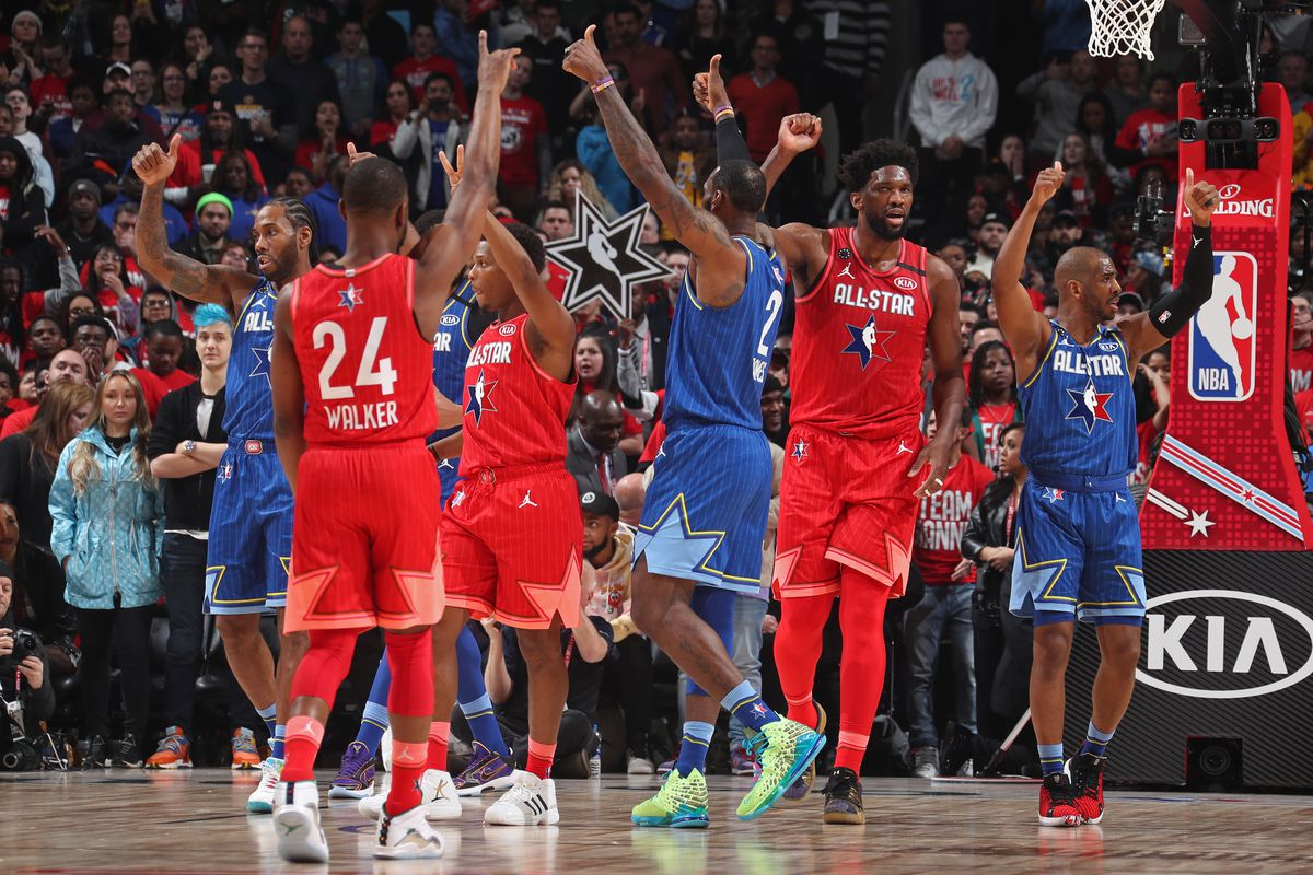 Players react to a call during the 69th NBA All-Star Game on February 16, 2020 at the United Center in Chicago, Illinois.