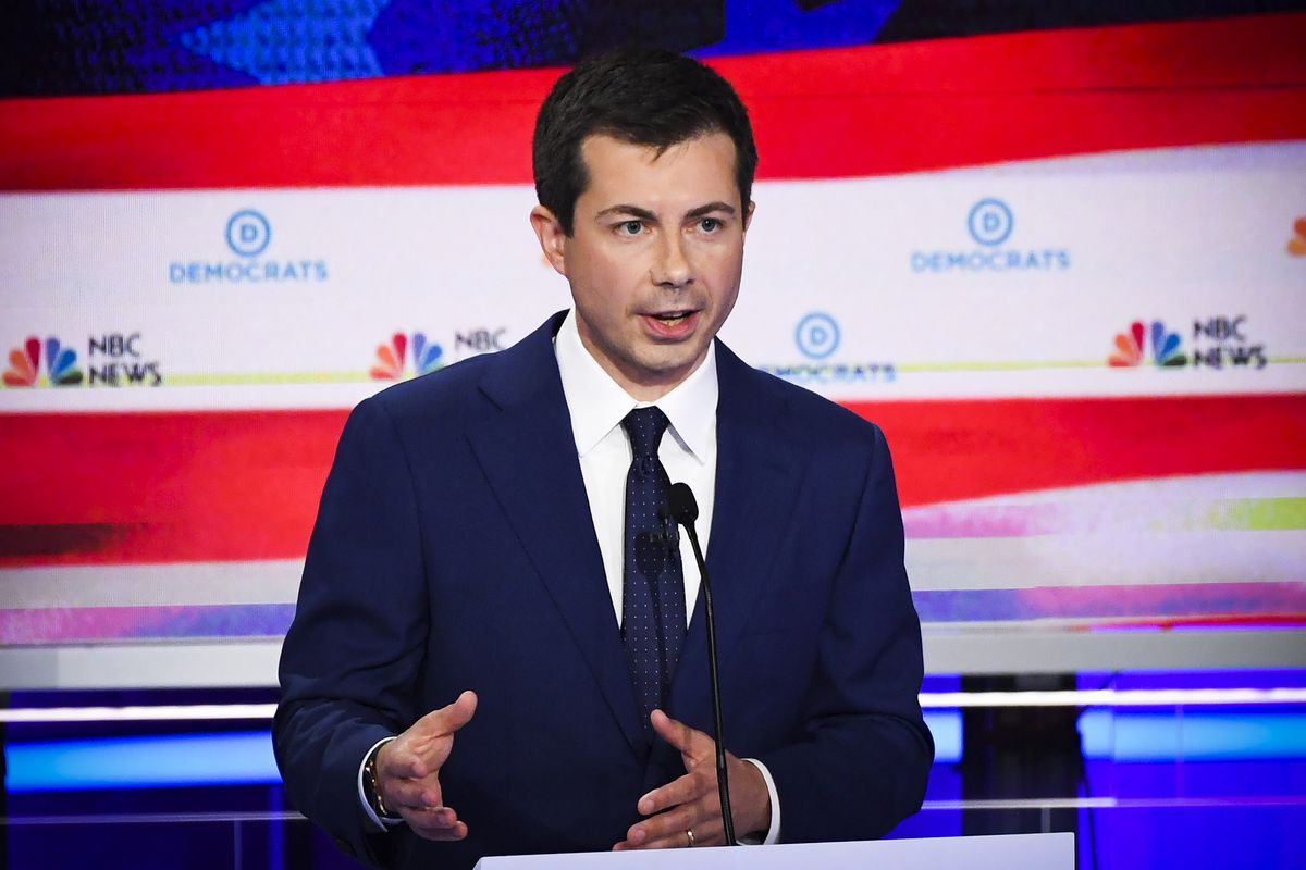 Democratic presidential hopeful Mayor of South Bend, Indiana Pete Buttigieg speaks during the second Democratic primary debate of the 2020 presidential campaign season.