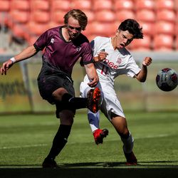 Morgan's Luke Fackrell and Judge Memorial's John Chadwick compete in the 3A boys soccer championship at Rio Tinto Stadium in Sandy on Tuesday, May 18, 2021.