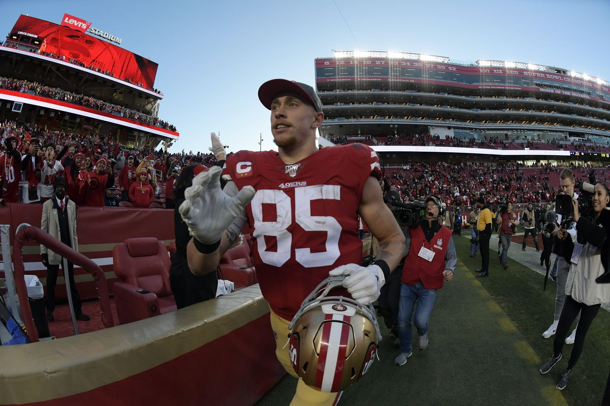 San Francisco 49ers tight end George Kittle celebrates the 27-10 victory against the Minnesota Vikings following the NFC Divisional Round playoff football game at Levi's Stadium.