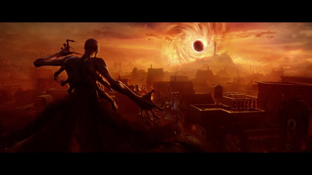 a many-armed vampire looks toward a black sun in Redfall