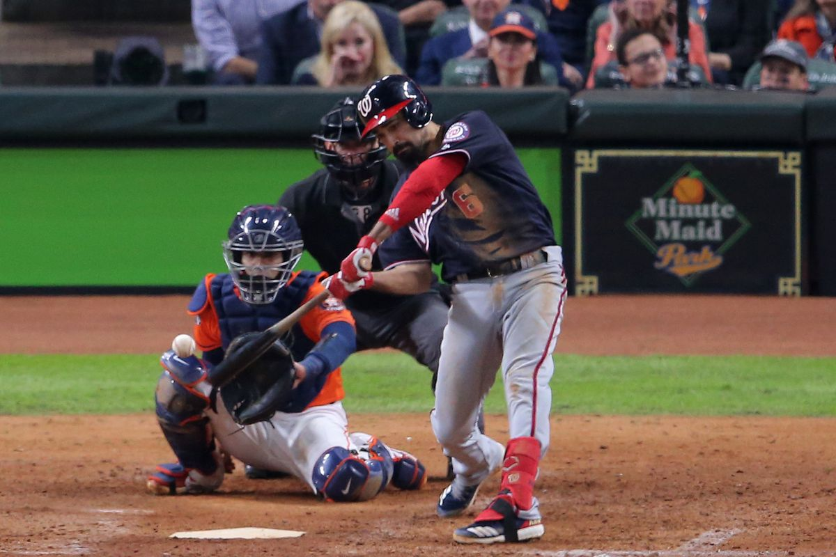 Washington Nationals third baseman Anthony Rendon hits a solo home run against the Houston Astros during the seventh inning in game seven of the 2019 World Series at Minute Maid Park.