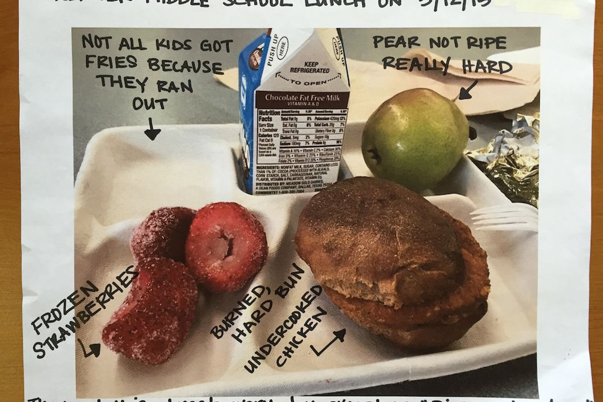 This lunch was served at Kepner Middle School on May 12. Descriptions were added by the Padres employee who received the lunch. (The chicken patties are pre-cooked by the vendor, but DPS officials said sometimes there are red spots in the meat that lead people to believe the meat is undercooked.)