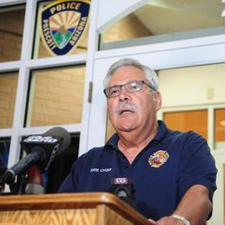 Prescott Ariz. Fire Chief Dan Fraijo confirms to members of the media that 19 members of the City of Prescott's Granite Mountain Hotshot team died while fighting the Yarnell Hill Fire Sunday, June 30, 2013. (AP Photo/The Daily Courier, Les Stukenberg)