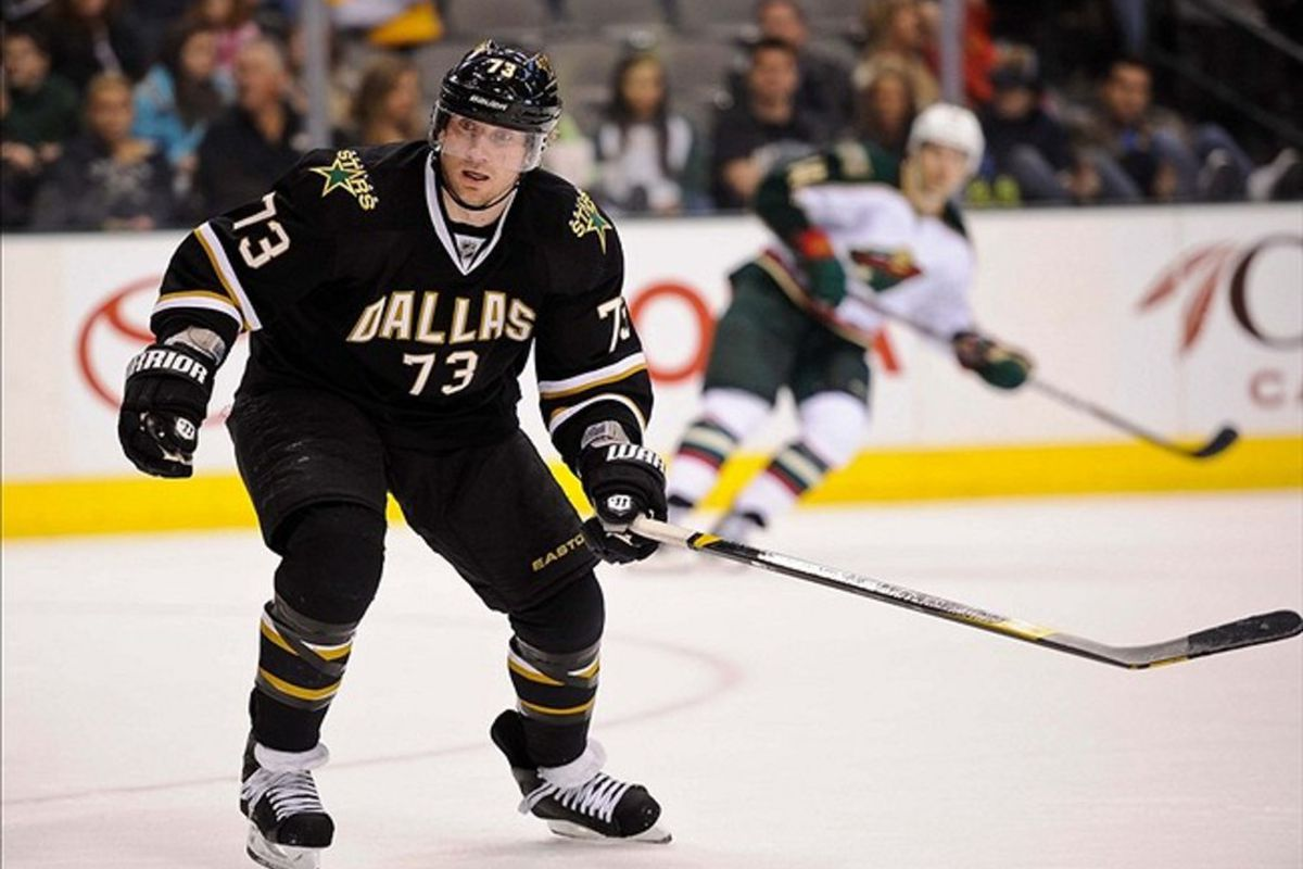 Feb 24, 2012; Dallas, TX, USA; Dallas Stars right wing Michael Ryder (73) skates through the Minnesota Wild zone during the game at the American Airlines Center. The Stars defeated the Wild 4-1. Mandatory Credit: Jerome Miron-US PRESSWIRE