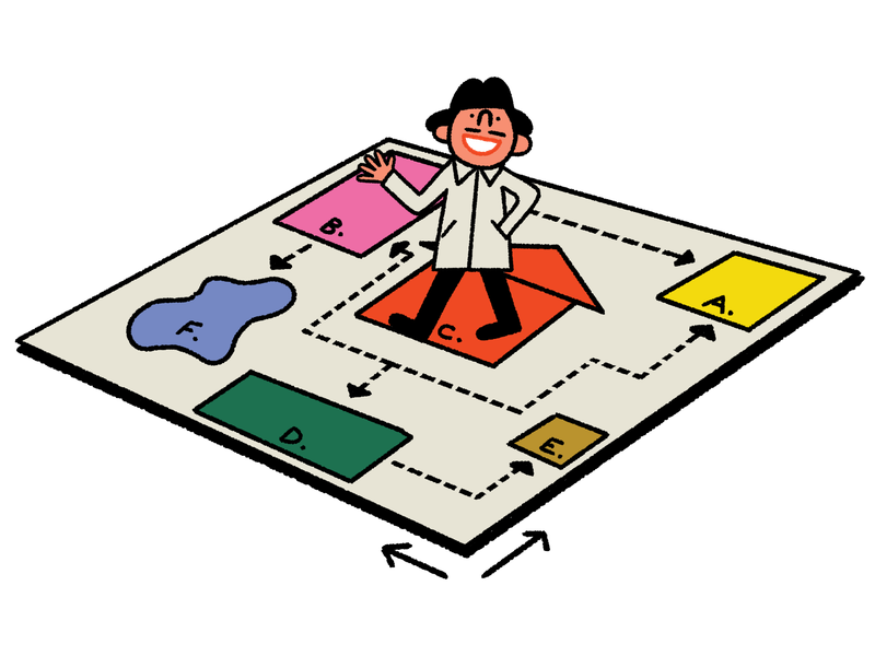 A person in a hat and trench coat walks on a board full of colorfully marked objectives. This is an illustration.