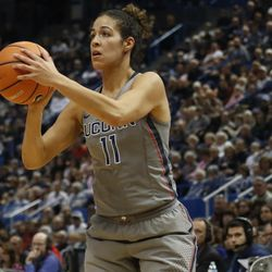 UConn's Kia Nurse (11) attempts a three-pointer during the Notre Dame Fighting Irish vs UConn Huskies women's college basketball game in the Women's Jimmy V Classic at the XL Center in Hartford, CT on December 3, 2017.