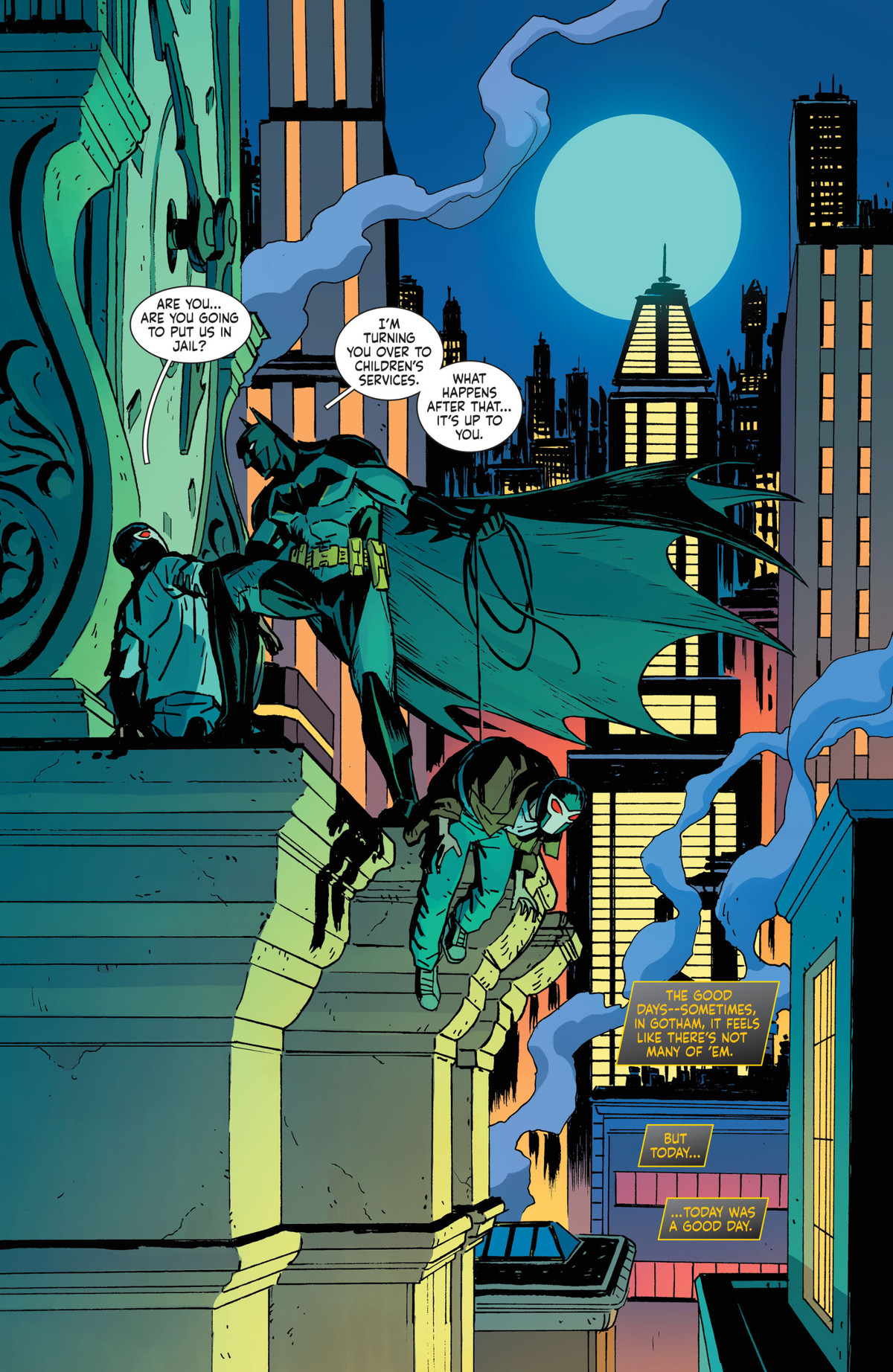 Batman captures two masked members of Bane's gang on a Gotham City rooftop. Steam rises from the buildings around him, with a pale blue moon looming in the background. Buildings glow pink and yellow and blue green all around, in Future State: The Next Batman #1, DC Comics (2021).