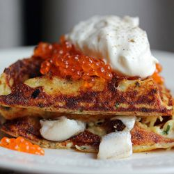"Potato Pancake, Pickled Smelts, Crème Fraîche and Roe at M. Wells Steakhouse by <a href=""https://www.flickr.com/photos/bradleyhawks/13720053863/in/pool-eater/"">bradleyhawks"