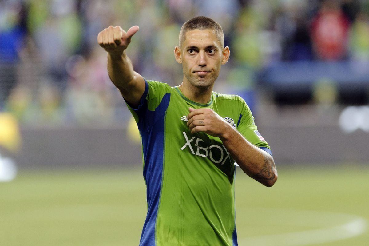 Clint Dempsey scored his first goal for Seattle on Sunday since his transfer from Tottenham Hotspur FC of the English Premier League