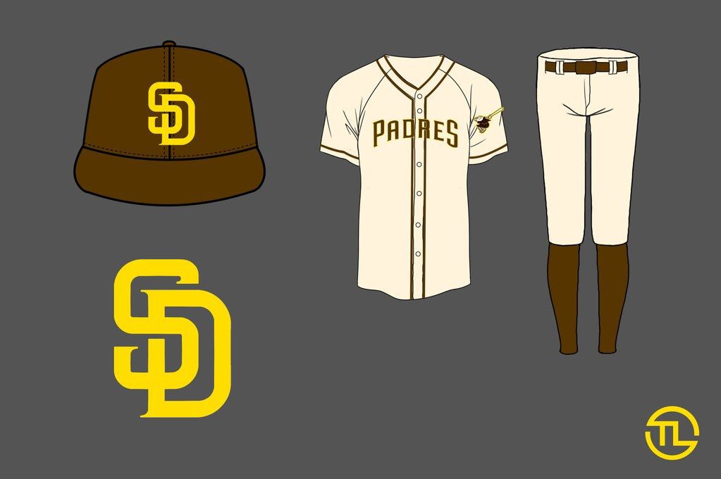 Padres redesign jersey uniform off white gold