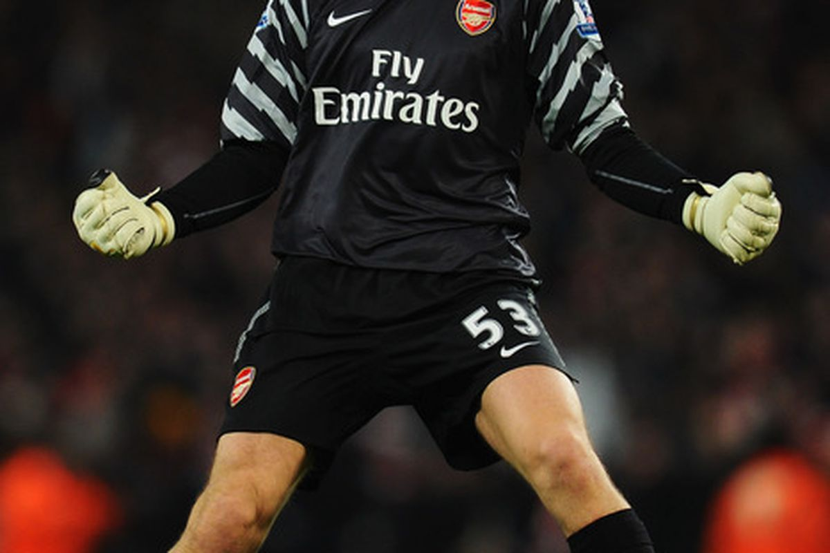 LONDON ENGLAND - JANUARY 25:  Wojciech Szczesny of Arsenal celebrates during the Carling Cup Semi Final Second Leg match between Arsenal and Ipswich Town at Emirates Stadium on January 25 2011 in London England.  (Photo by Clive Mason/Getty Images)