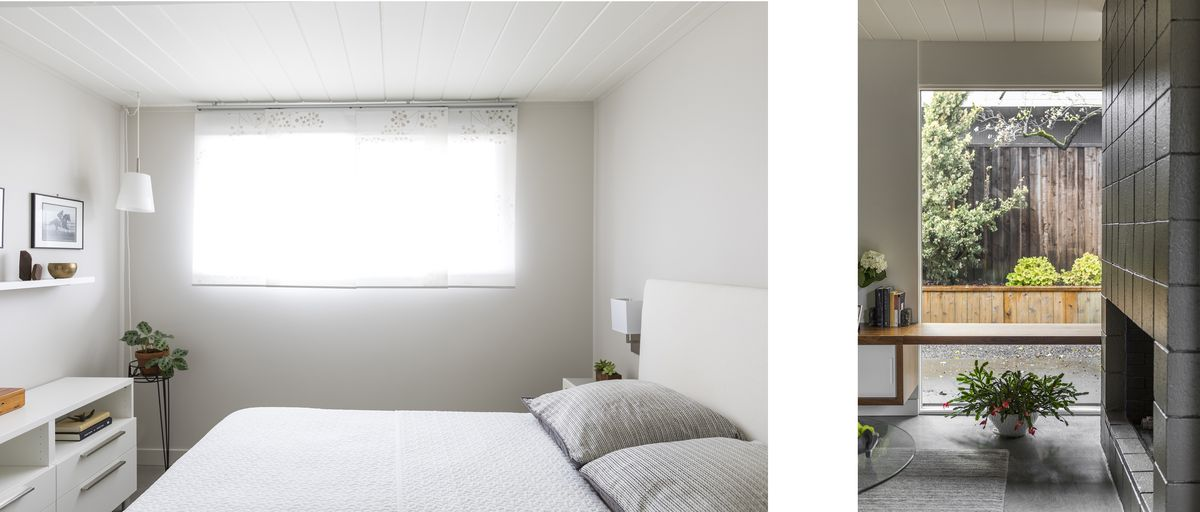 A small guest room feels more expansive thanks to a white color palette. A bench seat across a window in the living room provides guest seating.