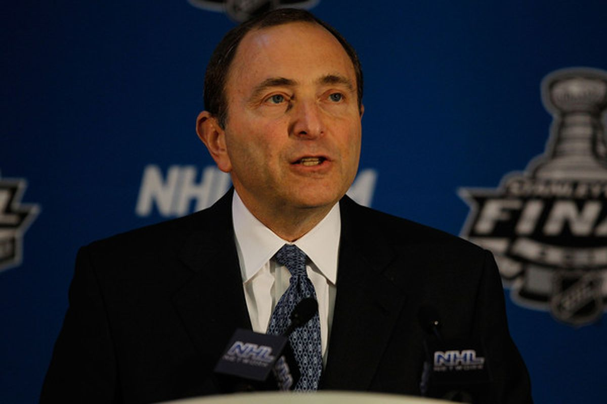 CHICAGO - MAY 28: National Hockey League Commissioner Gary Bettman speaks at a press conference at the United Center on May 28, 2010 in Chicago, Illinois. (Photo by Jonathan Daniel/Getty Images)