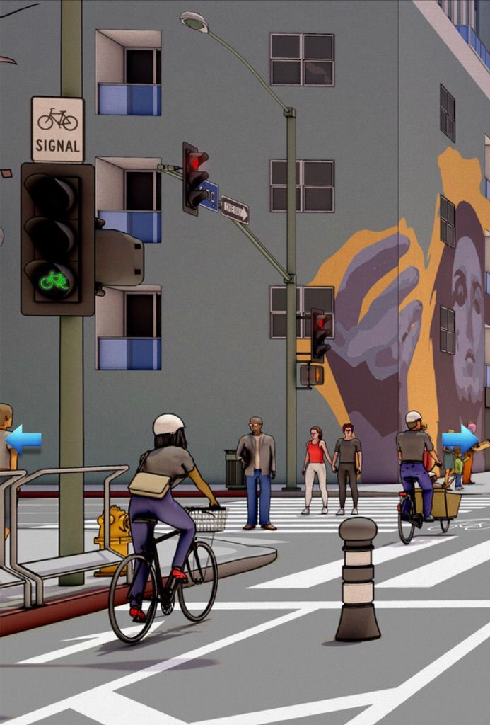 Rendering of bicyclist and mural
