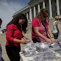 Mary Johnson, 11, Francis Stahle and Shelley North look at goods for sale to raise money for Josh Holt at the Capitol in Salt Lake City on Saturday, July 30, 2016. Family members and supporters held a rally to call for the release of Josh Holt, who has been jailed in Venezuela.