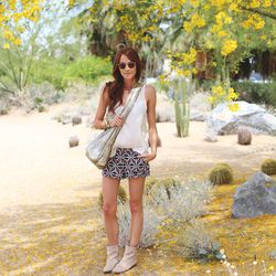 """Samantha of <a href=""""http://couldihavethat.blogspot.com/"""">Could I Have That?</a> in a Joie top, shorts and boots, Garrett Leight sunglasses, an Abejas bag and Jennifer Fisher cuffs."""