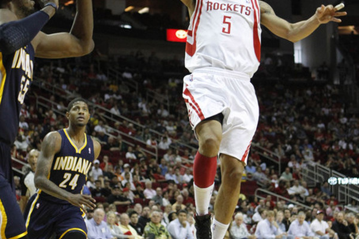 Apr 1, 2012; Houston, TX, USA; Houston Rockets guard Courtney Lee (5) takes a shot against the Indiana Pacers in the first quarter at the Toyota Center. Mandatory Credit: Brett Davis-US PRESSWIRE
