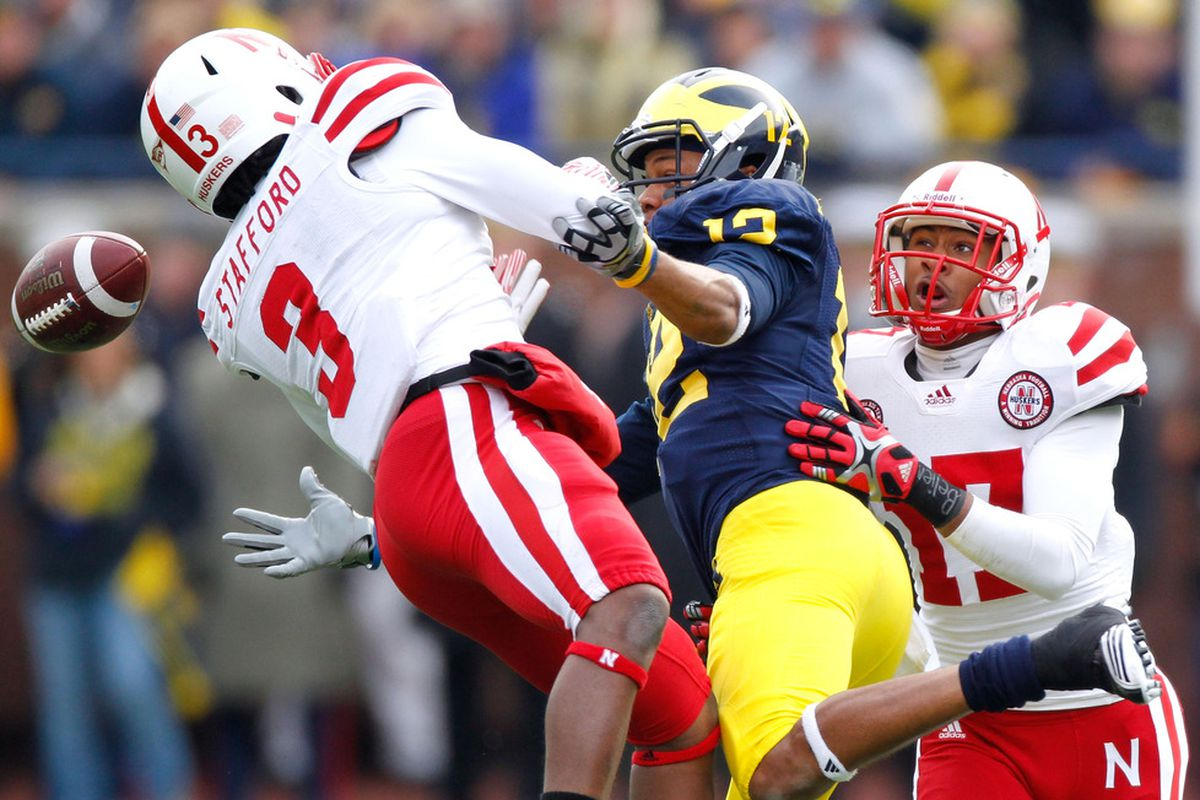 Here Daimion Stafford makes the play against Michigan. That wasn't always the case. (Photo by Gregory Shamus/Getty Images)