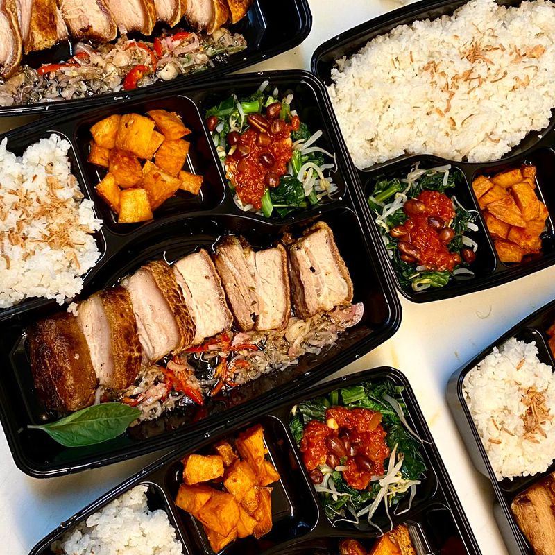 takeout dishes with Indonesian food