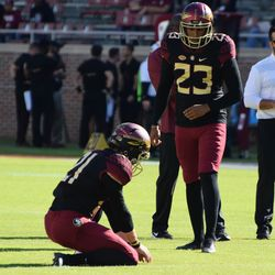 JR Kicker Ricky Aguayo warming up for what would be a busy day.