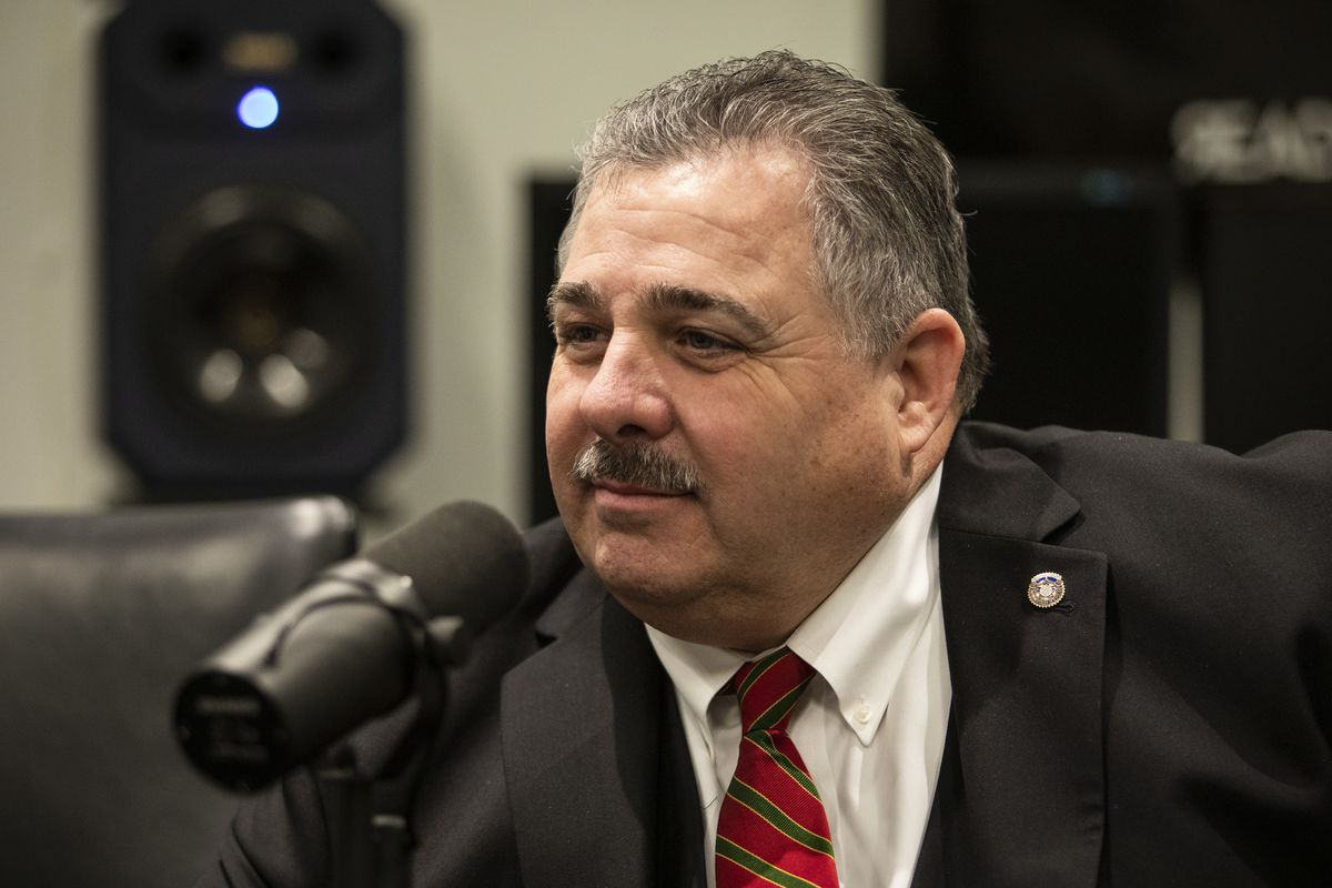 Fraternal Order of Police President Kevin Graham is interviewed Wednesday by Sun-Times City Hall reporter Fran Spielman.