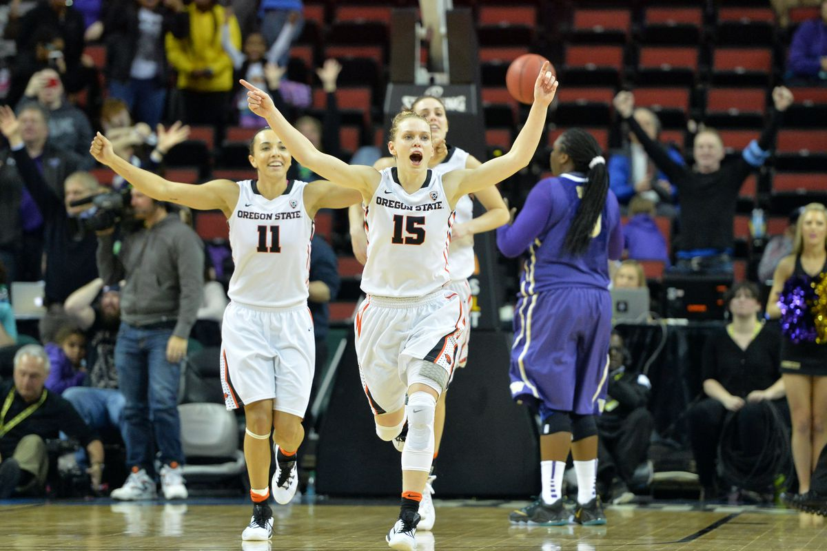Pac-12 player of the year Jamie Weisner celebrates the Oregon State win over Washington to advance to the Pac-12 Championship game