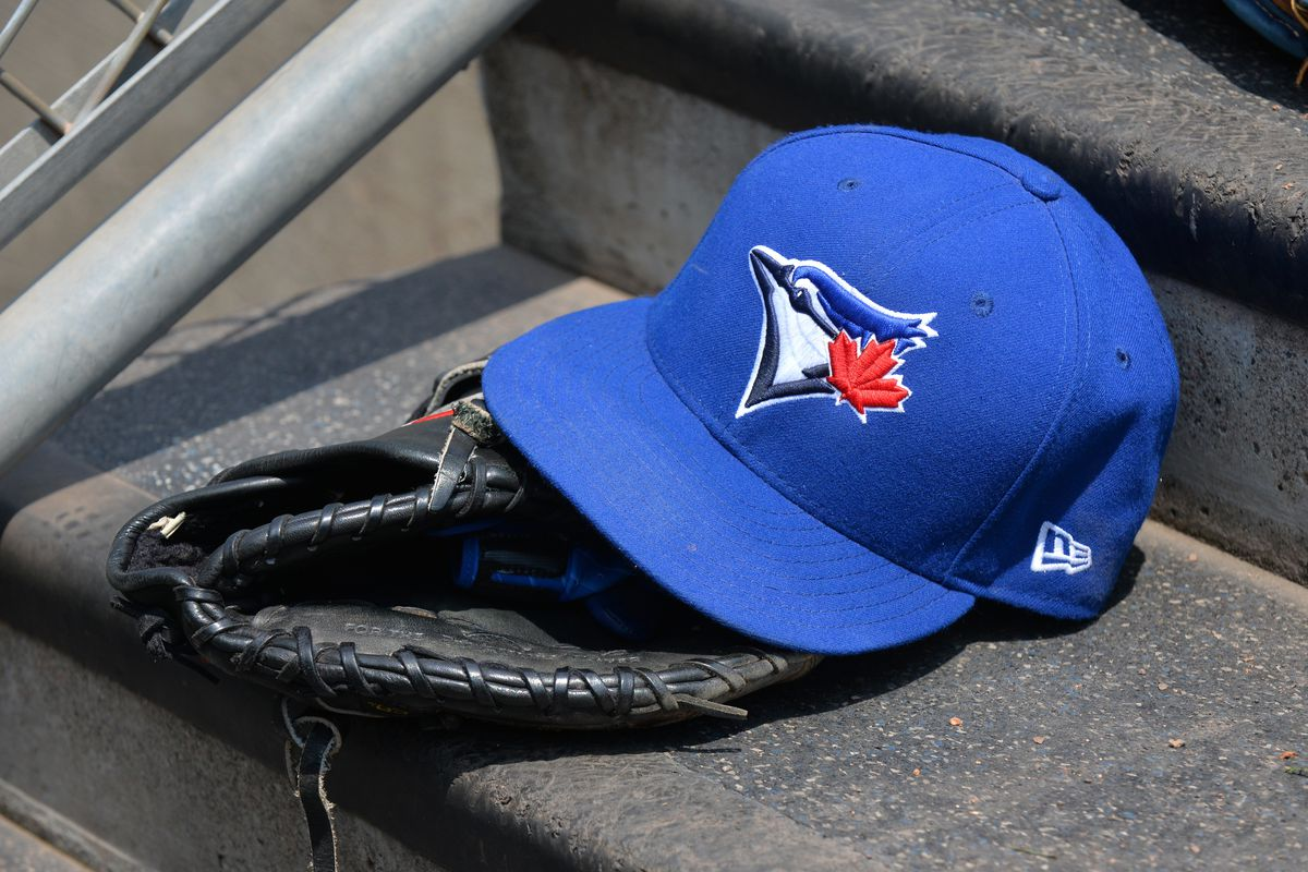 A detailed view of a Toronto Blue Jays baseball hat and glove sitting on the dugout steps during the game against the Detroit Tigers at Comerica Park on July 16, 2017 in Detroit, Michigan. The Tigers defeated the Blue Jays 6-5.