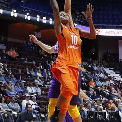 The Los Angeles Sparks take on the Connecticut Sun in a WNBA preseason game at Mohegan Sun Arena in Uncasville, CT on May 7, 2018.