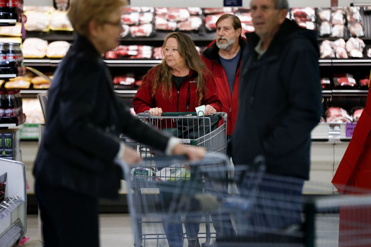 Rose and Gary Mesker shop for groceries at Ream's in South Jordan on Thursday, Dec. 12, 2019.