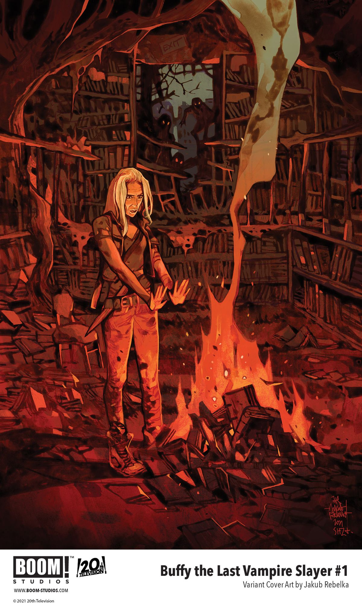 Buffy The Last Vampire Slayer - a variant cover for the first comic, showing an older Buffy Summers warming herself at a fire made out of a library. Vampires lurk menacingly nearby.
