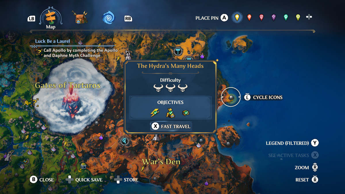 The map location of the The Hydra's Many Heads Vault of Tartaros