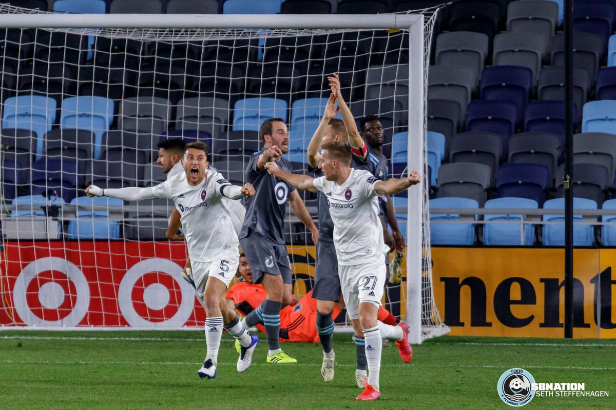 November 4, 2020 - Saint Paul, Minnesota, United States - Chicago Fire players celebrate to scoring a goal while Minnesota United players call for a handball during the match at Allianz Field. This goal was reviewed by VAR and called back.