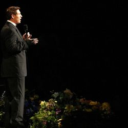 Steve Young co-hosts Golden Days, A Celebration of Life, in honor of President Thomas S. Monson's 85th birthday at the LDS Conference Center in Salt Lake City on Friday, Aug.  17, 2012.