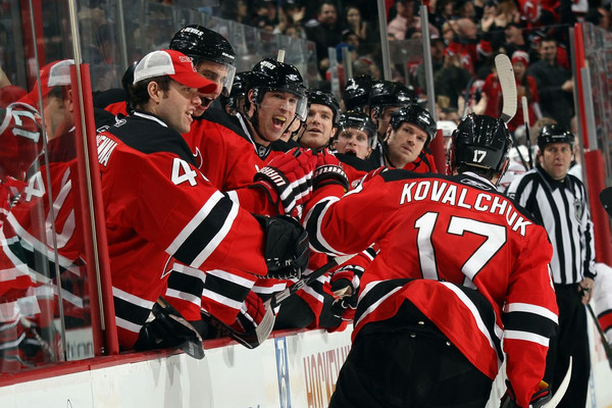 NEWARK NJ - FEBRUARY 16: Ilya Kovalchuk #17 of the New Jersey Devils scores at 5:41 of the second period against the Carolina Hurricanes at the Prudential Center on February 16 2011 in Newark New Jersey.  (Photo by Bruce Bennett/Getty Images)