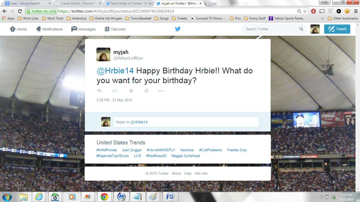 Hrbek Birthday Gift Question Twitter