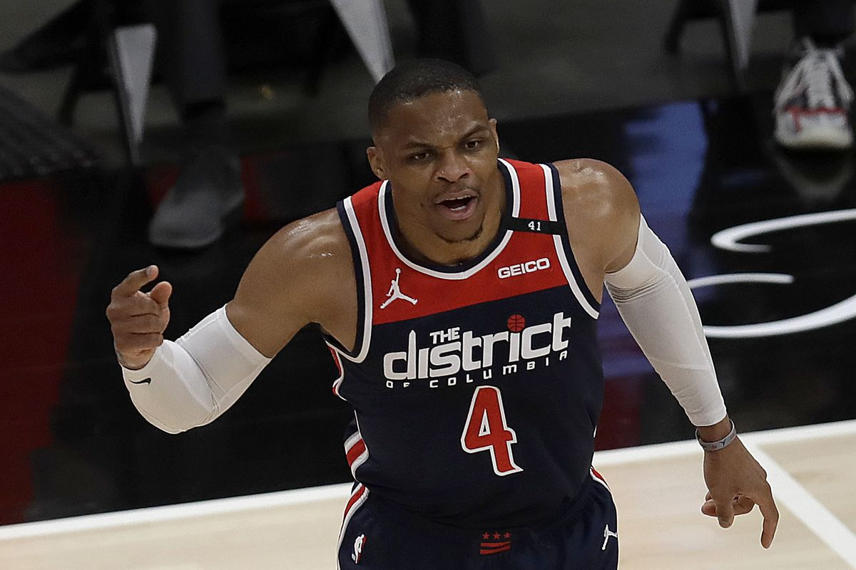 Russell Westbrook, in his 13th season overall and his first with the Washington Wizards, completed his 182nd triple-double when he grabbed his 10th rebound with 8:29 remaining in the game against the Atlanta Hawks.