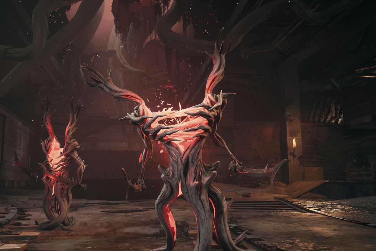 Remant's Root enemies stand waiting for players to arrive.