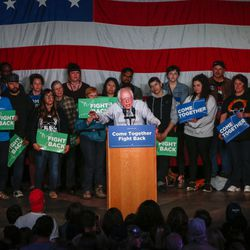 """Vermont Sen. Bernie Sanders speaks during the """"Come Together and Fight Back"""" tour at the Rail Event Center in Salt Lake City on Friday, April 21, 2017. About 3,000 people attended the event."""