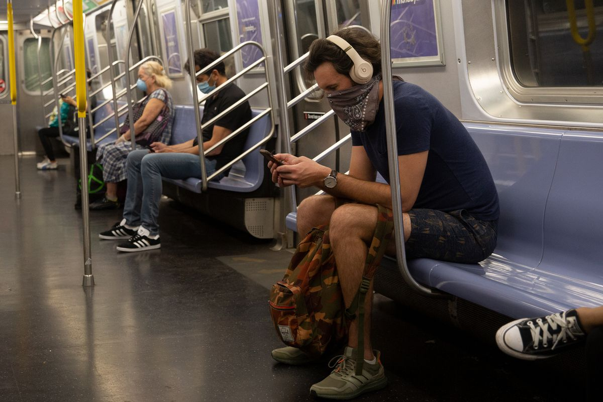 Low ridership is just one of the contributors to the MTA's financial fiasco, An M train in Queens, June 16, 2020.