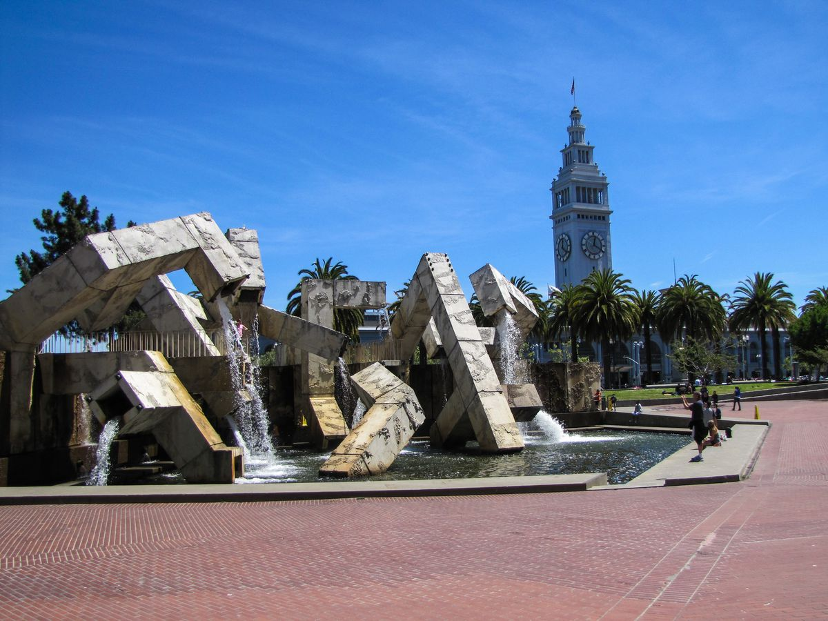 Justin Herman Plaza with the Ferry Building clock tower in the background.