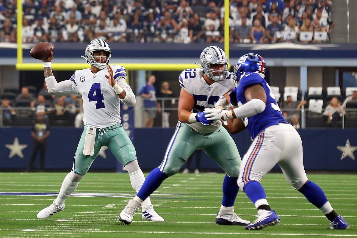 Dak Prescott of the Dallas Cowboys passes the ball during a game against the New York Giants at AT&T Stadium on September 08, 2019 in Arlington, Texas.