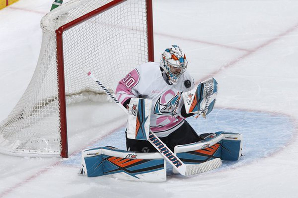 San Jose Barracuda goaltender Aaron Dell makes one of his 30-saves for the first ever Barracuda shutout in a 5-0 win over the San Antonio Rampage Saturday afternoon at the SAP Center. (Twitter.com/sjbarracuda)