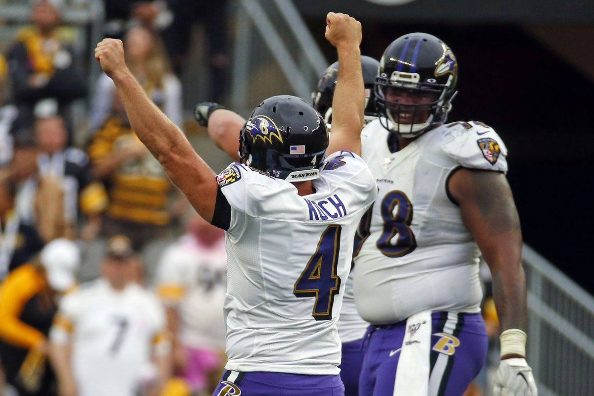 Sam Koch of the Baltimore Ravens celebrates after kicking the game winning field goal in overtime against the Pittsburgh Steelers on October 6, 2019 at Heinz Field in Pittsburgh, Pennsylvania.