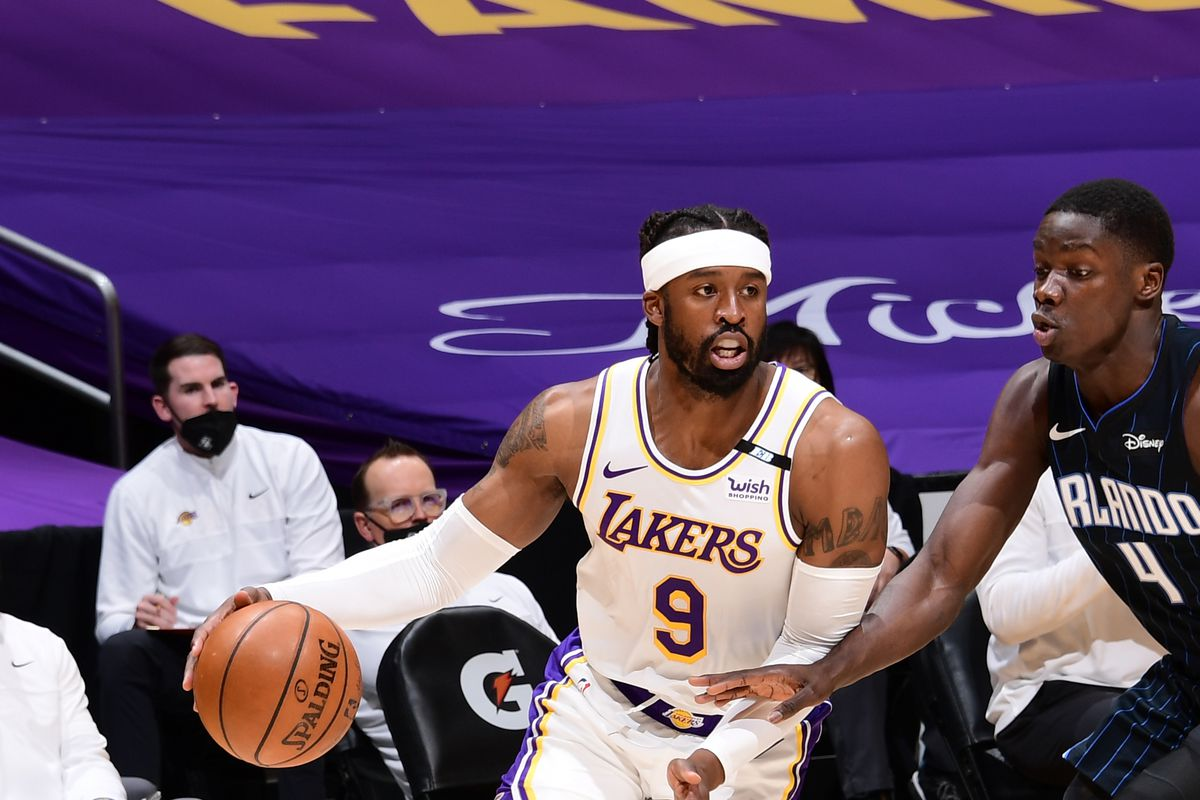 Wesley Matthews #9 of the Los Angeles Lakers drives to the basket against the Orlando Magic on March, 28, 2021 at STAPLES Center in Los Angeles, California.