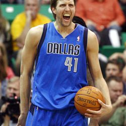 Dallas Mavericks forward Dirk Nowitzki (41) yells after being fouled as the Utah Jazz and the Dallas Mavericks play Monday, April 16, 2012 in Salt Lake City.