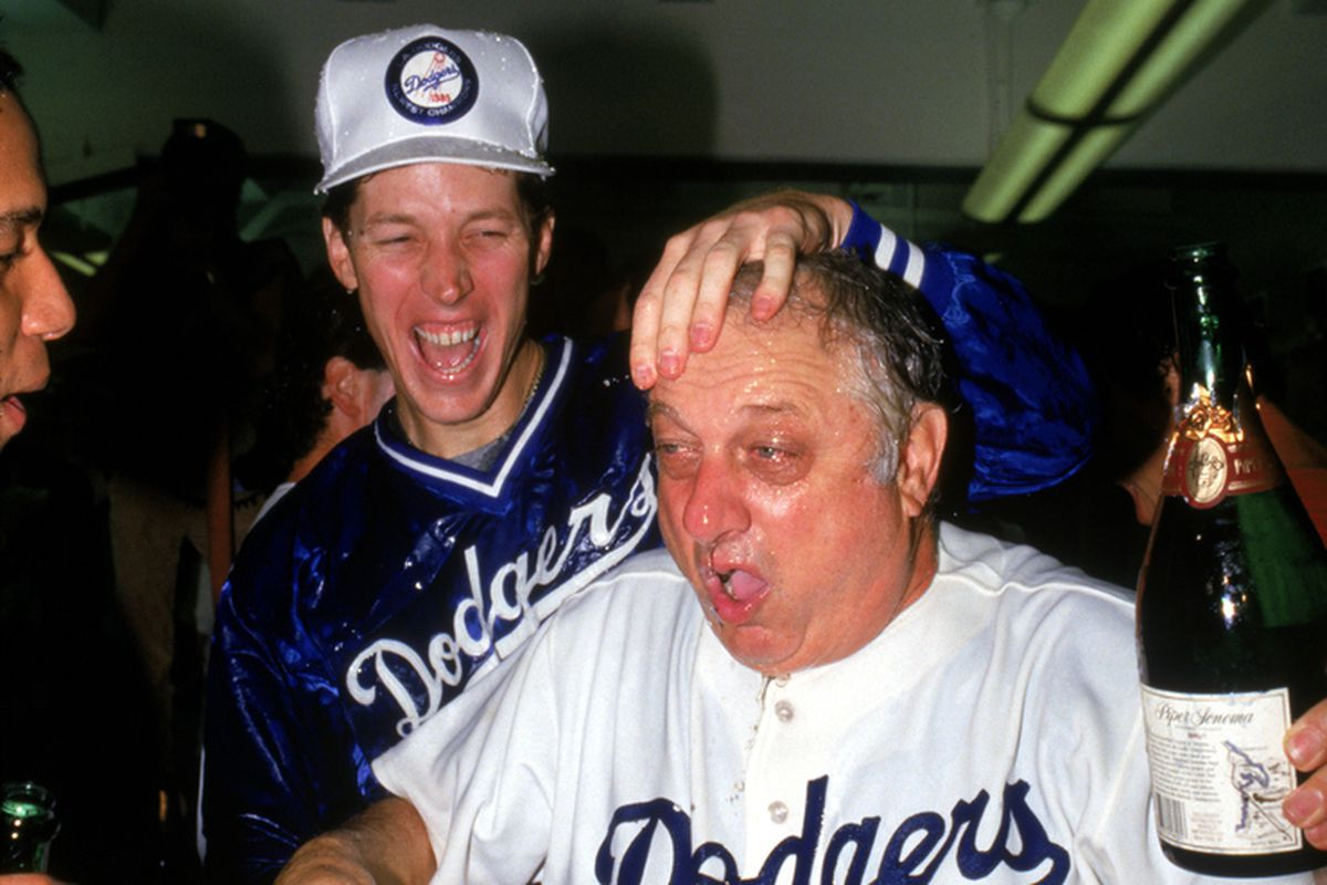 Orel Hershiser and Tommy Lasorda, seen here celebrating in 1985.