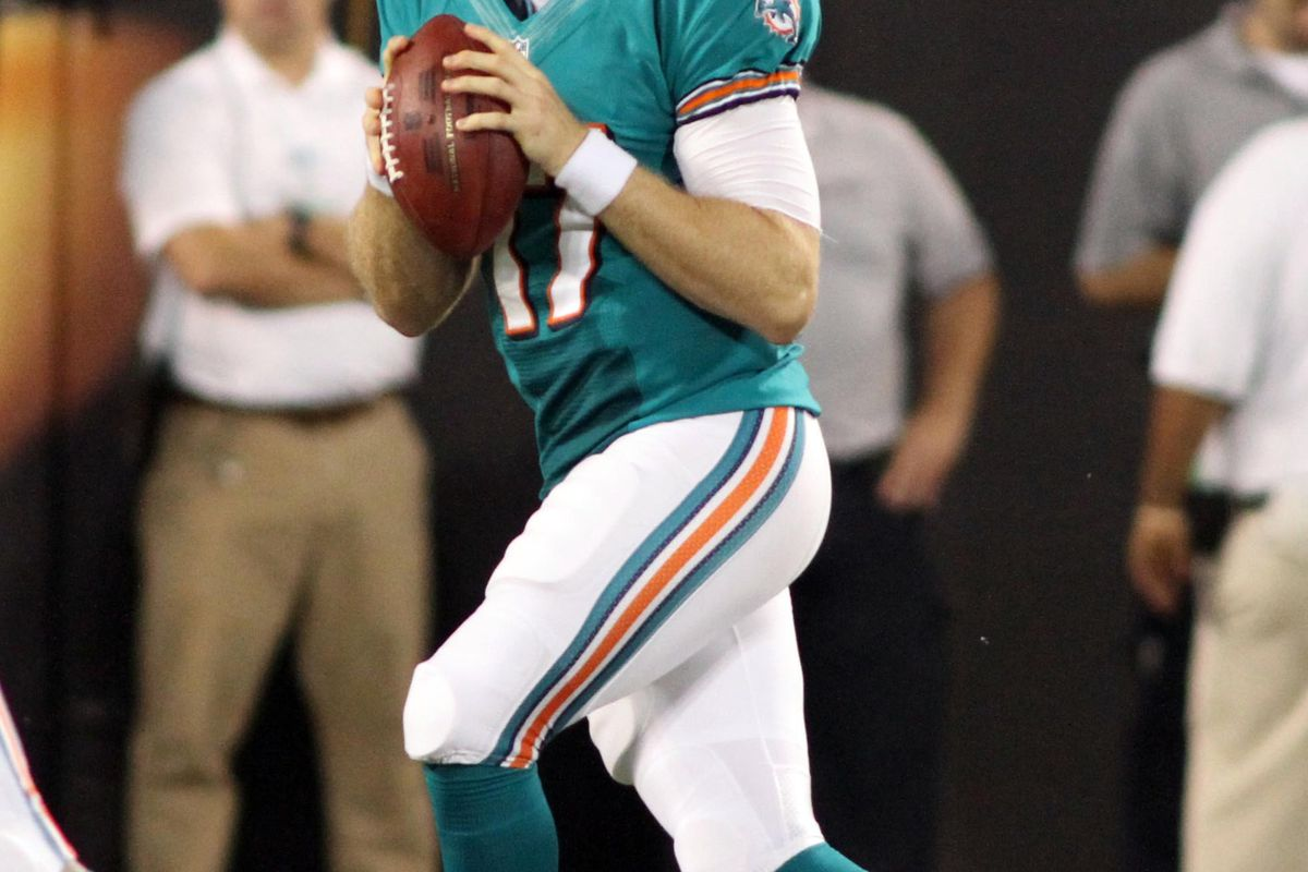 Aug 17, 2012; Charlotte, NC, USA; Miami Dolphins quarterback Ryan Tannehill (17) drops back to pass during the first quarter against the Carolina Panthers at Bank of America Stadium. Mandatory Credit: Jeremy Brevard-US PRESSWIRE