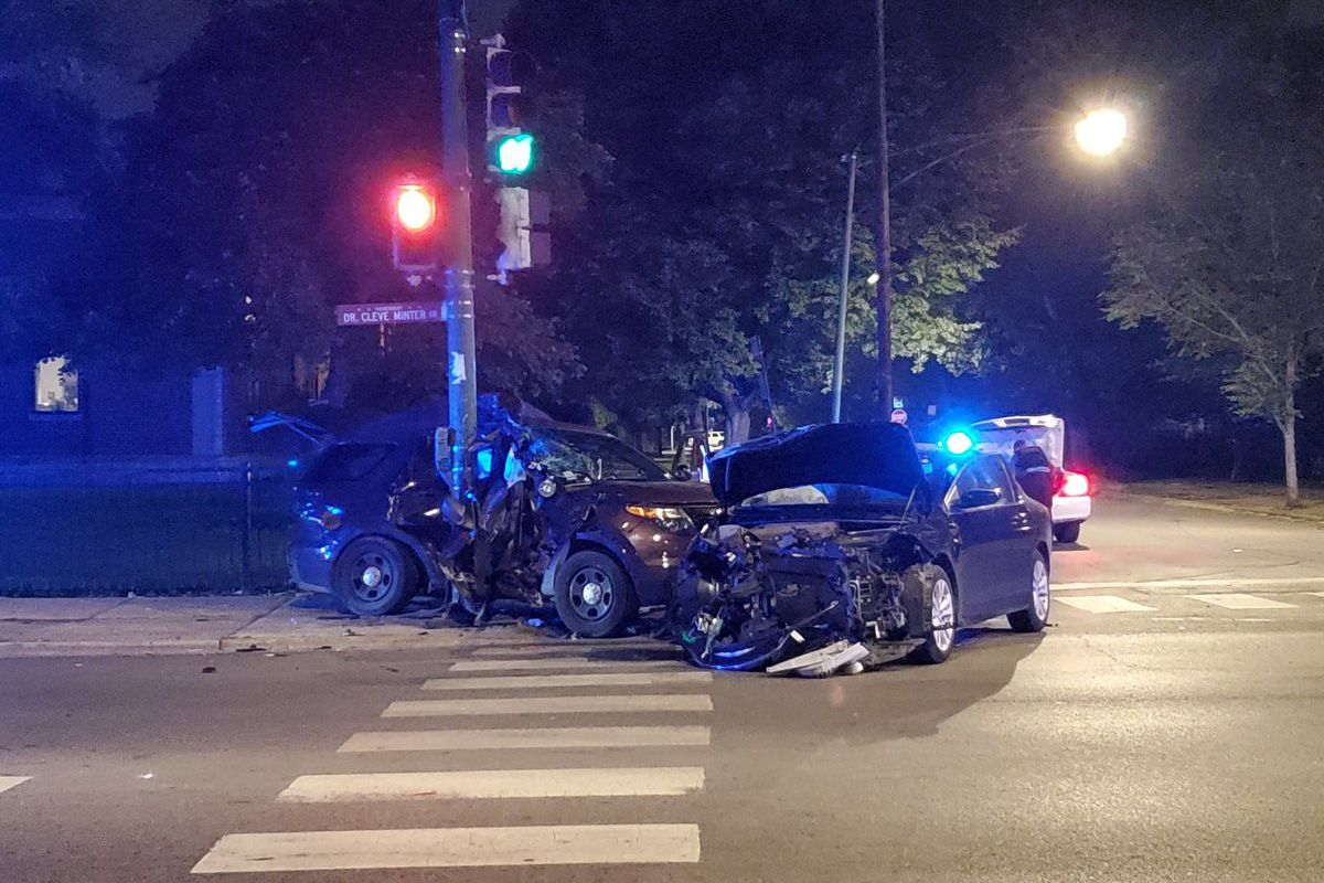 Chicago police officers were involved in a crash in Austin